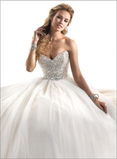 out of a fairy tale...sequined bodice wedding dress...sparkly and whimsical Maggie Sottero Esme sequin wedding dress