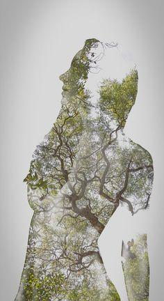 """I bildserien """"The Inner Light"""" blir människan ett med naturen http://blish.se/85036ff6b8 #natur #dubbelexponering #porträtt #människor #grönska"""