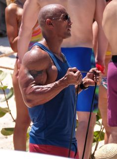 Pin for Later: Zac Efron Goes For a Shirtless Swim With Dwayne Johnson on the Set of Baywatch