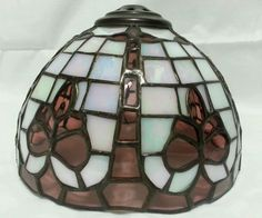 Tiffany Style Stained Glass Small Lamp Shade, Mother of Pearl, Amethyst Glass GC in Home & Garden, Lamps, Lighting & Ceiling Fans, Lamp Shades | eBay