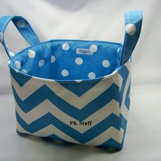 PK Fabric Basket in Chevron in Icy Blue by PKStuff on Etsy, $14.50