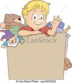 Vector - Kid Boy in a Toy Box - stock illustration, royalty free illustrations, stock clip art icon, stock clipart icons, logo, line art, EPS picture, pictures, graphic, graphics, drawing, drawings, vector image, artwork, EPS vector art