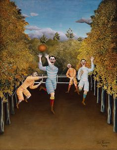 The Football Players by Henri Rousseau, Guggenheim Museum Size: cm Medium: Oil on canvas Solomon R. Guggenheim Museum, New York Georges Seurat, Illustration Arte, Illustrations, Henri Rousseau Paintings, Museums In Nyc, Classic Paintings, Naive Art, Art Plastique, Football Players
