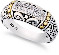 Balissima by EFFY Diamond Accent Round Swirl Ring in 18k Gold and Sterling Silver on shopstyle.com