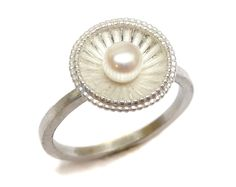 Silver Calypso Ring with Fresh Water Pearl. Beth Gilmour Jewellery.