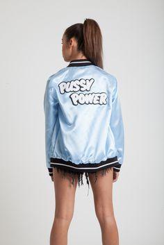 Pussy Power Satin Bomber Jacket