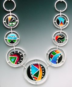 """""""Circles of Life"""" enamel and sterling necklace by Lisa Hawthorne."""