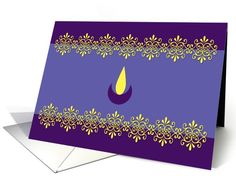 Diwali Greetings - Lamp - Purple and yellow card