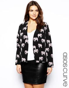 ASOS Curve | ASOS CURVE Soft Blazer In Elephant Print at ASOS