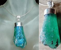 Aqua Blue Ancient Roman Glass Pendant  Sterling Silver by camexinc, $75.00