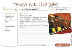 Passover Recipe Cards - Tangy English Ribs