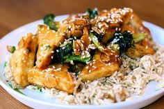 Sweet and sour tofu with broccoli