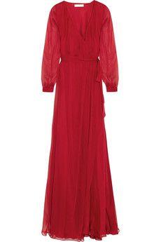 Matthew Williamson Silk-chiffon wrap gown | THE OUTNET