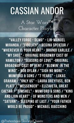 "Click to listen! ""Rogue One: A Star Wars Story"" Character Playlist by Pretentious Shirley/Queen jyn erso star wars the force music mumford & sons force4ham music playlist stardust rebelcaptain fan made"