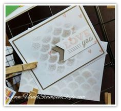 Simple card created using sponging technique with Friendly Wishes with Striped Scallop Thinlit from Stampin' Up!