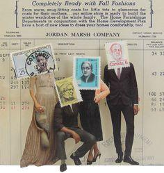 Collage Made From Magazine Clippings and Postage Stamps Sian Robertson Completely Ready With Fall Fashions Mixed Media Collage, Collage Art, Collages, Art Therapy Projects, Postage Stamp Art, Psy Art, Collage Making, Textiles, People Art