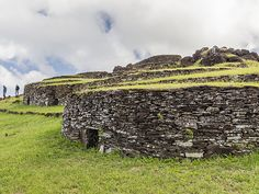Picture of stone houses on Easter Island  Orongo Village  Photograph by Michael Nolan, Corbis