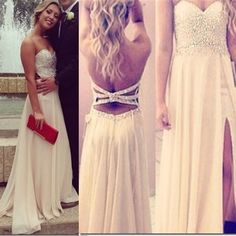 Backless Beading Crystal Prom dress