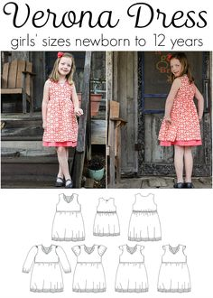 girls dress pattern with notched fold-back collar, double skirt, enclosed elastic waist. Optional cap, short, or long sleeves and patch pockets.