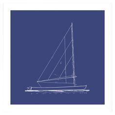 Sailboat Blueprint Framed Print II
