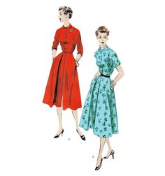 Original 1953 Vogue 7597, Evening/Cocktail/Summer Dress, Fitted Bodice, Flared Skirt, Inverted Pleat Detail, Unprinted Pattern, Bust 34""