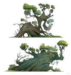 Trees design by Luca Pisanu Environment Painting, Environment Concept, Environment Design, Digital Painting Tutorials, Digital Art Tutorial, Tree Illustration, Landscape Illustration, Tree Artwork, Landscape Concept