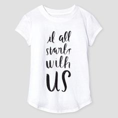 Girls' It All Starts With Us Graphic Tee Cat & Jack - True White Xxl(18), Girl's, White Uv Calibrated