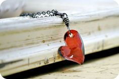 Red Heart Charm Necklace Oxidized Sterling Silver by BGBJewelry, $29.00