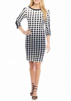 Sandra Darren  Cold Shoulder Printed Shift Dress