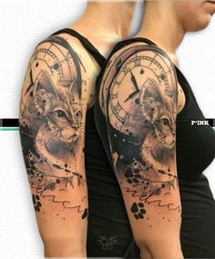 b91b69d6f arte milano more tattoo arm tattoos r us art tattoo clock cat Cat