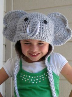 Elephant crochet hat -- I know a little boy who would LOVE this!