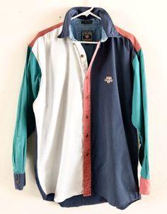 Vintage Chaps Ralph Lauren Button Up Shirt Large Colorblock Blue White 90's  | eBay