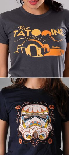 "Get used to hearing, ""Where'd you get that shirt? I love it!"" ""Visit Tatooine"" and ""Sugar Skulls"" graphic t-shirt for men, women and kids. Whether you're looking to upgrade your t-shirt collection or need a clever gift for someone special, SnorgTees is a must."