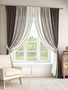 """Комплект штор """"Кони (графит/серый/экрю)"""": купить комплект штор в интернет-магазине ТОМДОМ #томдом #curtains #шторы #interior #дизайнинтерьера"""