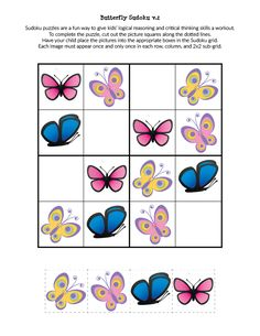 These free printable Butterfly Sudoku Printables use smaller grids and images, making them a perfect spring-time brain exercise for young children. Sudoku Puzzles, Printable Puzzles, Puzzles For Kids, Free Printables, Montessori Math, Preschool Learning Activities, Teaching Kids, Worksheets, Child Friendly