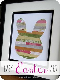 Easy Easter Bunny Art.. would be cute if you used your kid's artwork cut into strips.. (since I am always looking for a way to condense and display their massive amounts of art)