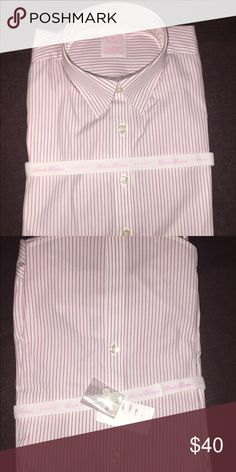 NEW Brooks Brothers Button down Shirt Brand New Pinstripe Brooks Brothers button down. Colors Maroon with White stripes. The shirt is cotton with a bit of stretch.                       I would prefer not to undo the packaging so that the item can remain just as received from the store or given as a gift but I will for serious buyers. Brooks Brothers Tops Button Down Shirts