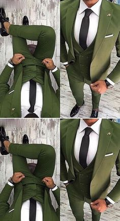 Green Men Suit Slim Fit 3 Piece Tuxedo Groom Style Suits Custom Prom Party Blazer - Tuxedo - Ideas of Tuxedo - green men pieces wedding suit Casual Wedding Attire, Wedding Dress Men, Wedding Men, Green Wedding Suit, Sherwani For Men Wedding, Green Suit Men, Green Man, Mens Fashion Suits, Mens Suits
