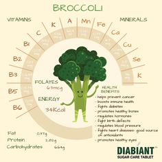 Broccoli contains 5 grams of fiber for a 1/2-cup serving and contains only 50 calories, but it is also recommended because certain chemicals in broccoli may help prevent damage caused to the blood vessels by diabetes. #Diabiant #Broccoli #Minerals #Vitamins #Diabetes #Protein #fat #carbohydrates #FollowFriday