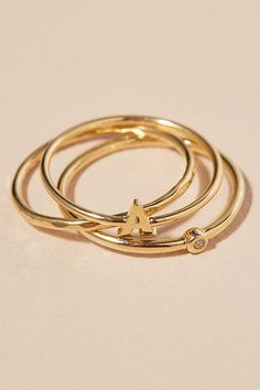Slide View: 1: Gold Plated Monogram Ring Set