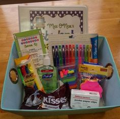 If I ever get a student teacher...a gift basket for their first day!