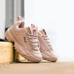 Fila Disruptor. Jurasic predator? Velociraptor. Street predator? Distuptor! Baskets, Fila Disruptors, Adidas, Nike, High Top Sneakers, Peach, My Favorite Things, Predator, Shoes