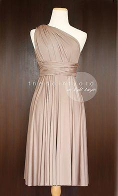 Short Straight Hem Light Taupe Infinity Dress Multiway Dress Bridesmaid Dress Convertible Dress Twist Wrap Dress Prom Dress Cocktail Dress