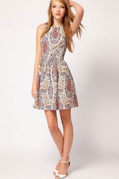 ASOS Quilted Paisley Print Dress, $75.88