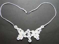This #Crochet Butterfly Necklace takes talent to make. I really like it!