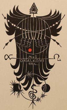 Bookplate (or ex libris) by Ladislav Rusek (1972).