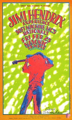 """psychedelic-sixties: """"Jimi Hendrix Experience/Soft February 1968 - Masonic Temple, Detroit MI Art By Gary Grimshaw. Tour Posters, Band Posters, Music Posters, Psychedelic Art, Rock Roll, Affiche Jimi Hendrix, Festival Hippie, Hippie Posters, Masonic Temple"""