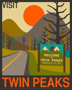 Visit Twin Peaks Art Print by Jazzberry Blue