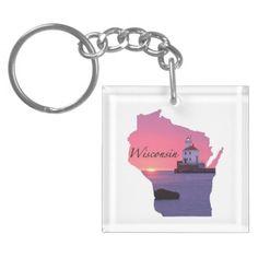 Wisconsin Lighthouse Key Chain Acrylic Key Chain