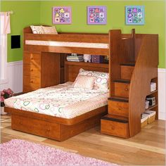 We got this for Ariana and Sabrina's room - time for Adalea to move into her room/crib!     Berg Furniture Sierra Wood Twin Over Full  Loft Bed - 22-816-XX